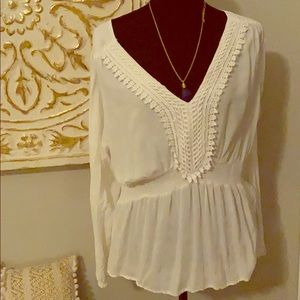 Cute white long sleeve top